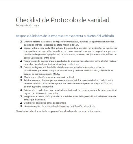 checklist protocolo sanidad desinfección transporte carga